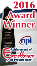 2016 Award Winner NPI  Achievement of Excellence in Procurement